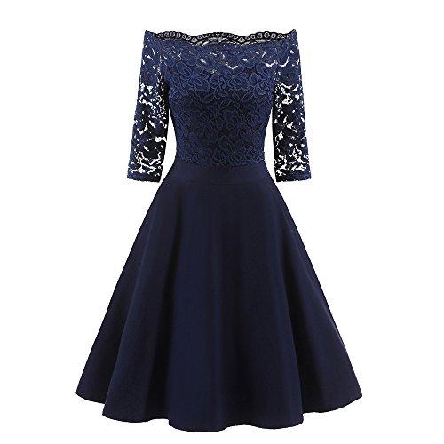Maxi Dress, Women New Vintage Lace Patchwork Off Shoulder Cocktail Party Retro Swing Dress Nursing Dress Navy