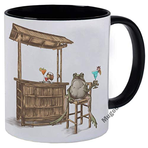 Mugod Toad Mug Frog Raised Paw Cocktail Lemon Bar Stool Beach Bar Bamboo Canopy Ceramic Coffee Cup Tea Cup Funny Mug 11oz Black Inside for Home Living Room Dining Room Kitchen Office