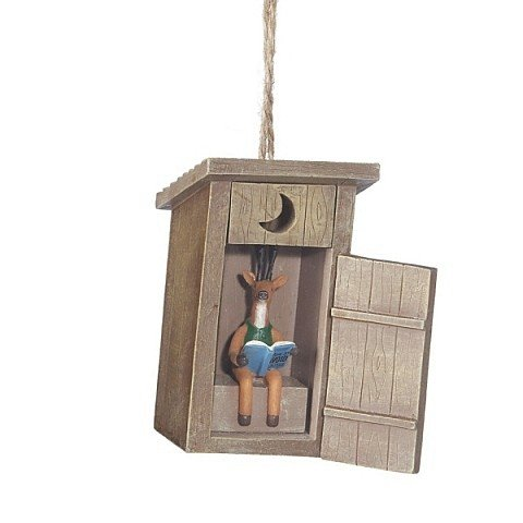 Outhouse with Deer Inside Resin Hanging Christmas Ornament - Size 3.5 in. (Outhouse Ornaments)