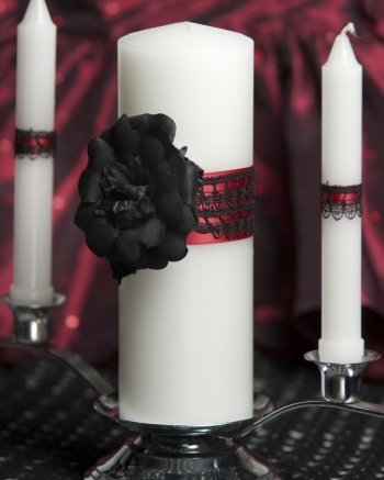 Gothic Romance Wedding Unity Candle Set: Candle Color: White by Wedding Collectibles