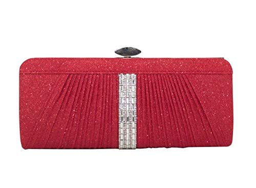 Ladies Haute Bag Red Grey Clutch Diamante Diva for Pleated qa4xCaERw