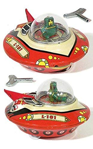 FLYING SAUCER Wind up Friction UFO Space Ship vtg look Tin Sparking BUMP-N-GO For Ages 15+ India by Tin Treasures (Image #1)
