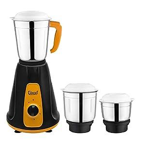 Gixoo Black Hero 550-Watt Mixer Grinder with 3 Jars Color-Yellow & Black