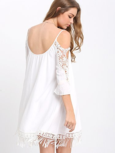c390cf131f0 Milumia Women s Summer Cold Shoulder Crochet Lace Sleeve Loose Beach Dress   Amazon.ca  Clothing   Accessories