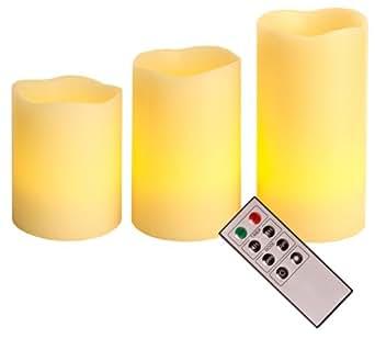 Best Season 066-70 - Juego de lámparas LED con forma de vela, 3 piezas, incluye mando a distancia