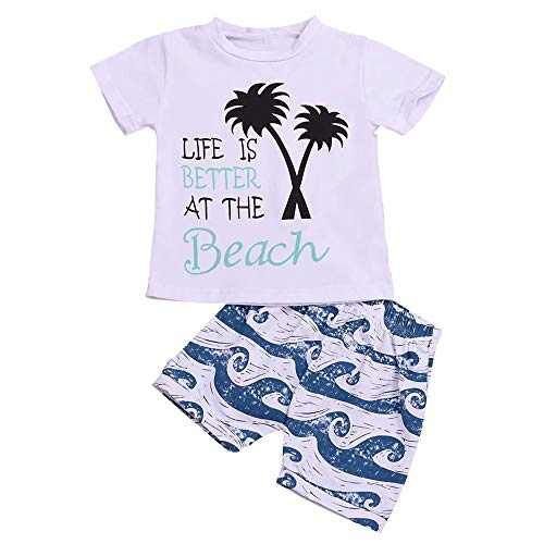 (Baby Boy Short Sets Lettering Life is Better at The Beach T-Shirts + Sea Wave Graphic Print Short Pants Size 18-24 months/Tag90 (White))