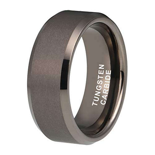 Tungsten Wedding Band - iTungsten 6mm 8mm Gunmetal Tungsten Rings for Men Women Wedding Bands Matte Finish Beveled Edges Comfort Fit