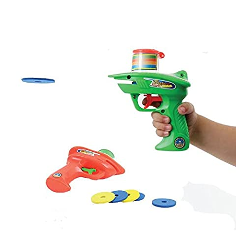 Dazzling Toys Kids 2 Foam Disc Shooters with 8 Foam Discs Each Shooter, Shoots Discs up to 20 Feet. No Batteries (Foam Disk Refill)