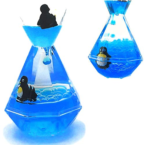 Liquid Motion Bubbler Timer / Floating Marine Life Sea Creatures, Diamond Shaped Liquid Timer For Fidget Toy,Autism Toys , Children Activity, Calm Relaxing ,Penguin Desk Toys and Home Ornament  ()