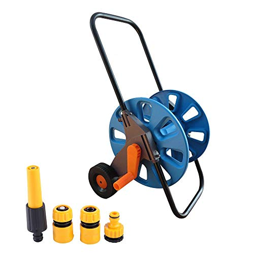 Legines Junxi Portable Garden Water Hose Reel Cart 2 Wheels, 164 Feet Capacity, Include 3 ABS Hose Connector Fittings & 1 ABS Adajustable Water Gun (Wheel Reel Hose 2)