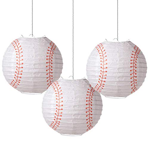 Baseball Birthday Party Supplies (8'' Baseball Paper Lanterns Sports Team Party Decoration 3 Pieces Easy)