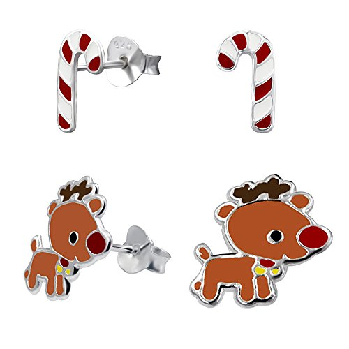 Children's 925 Sterling Silver Christmas Candy Cane and Rein