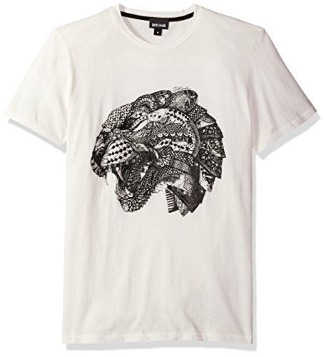 Just Cavalli Men's Lion Print Tee, White Milk, - Men For Just Cavalli