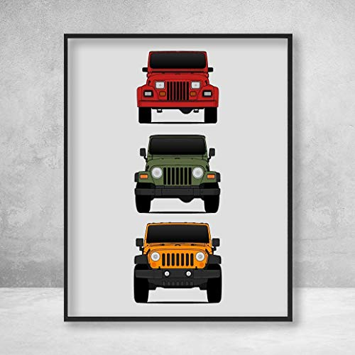 (Jeep Wrangler Poster Print Wall Art of the History and Evolution of the Wrangler Generations (Car Models: YJ, TJ, JK) in Color)