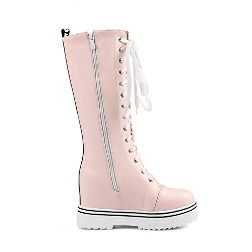 AgooLar Women's Mid-top Zipper Soft Material High-Heels Round Closed Toe Boots Pink aNdWa8x