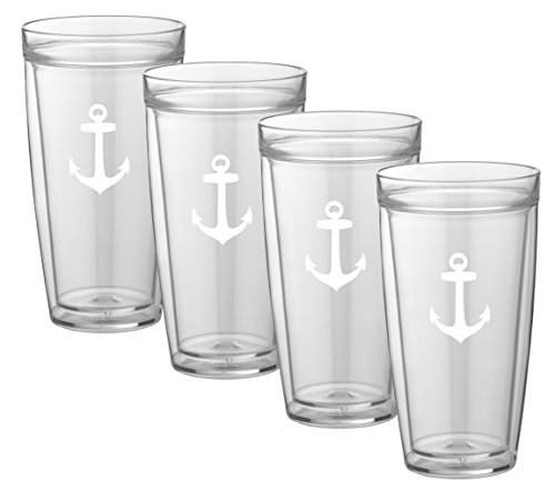 Kraftware Kasualware Collection Anchor Doublewall Drinkware, 22 Ounce - Set of 4