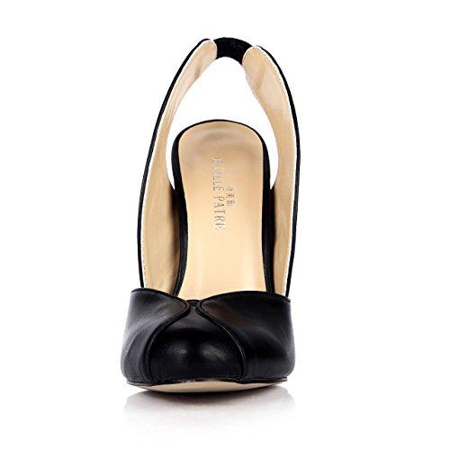 Lady Kjole Stiletto Slingback Mote Spisse Sorte Pumps Klassiske Sandal Muldyr Dolphingirl Sko Prime Svart