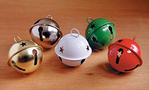 Darice Holiday Jingle Bell with Star Cutouts-Silver-80mm, 1 Pack