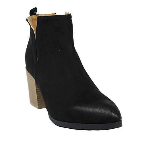 Booties Alandra Fashion Toe Black Almond EDITION Heel WOMENS Ankle NEW Pointy Stacked Synthetic wvEPXwq