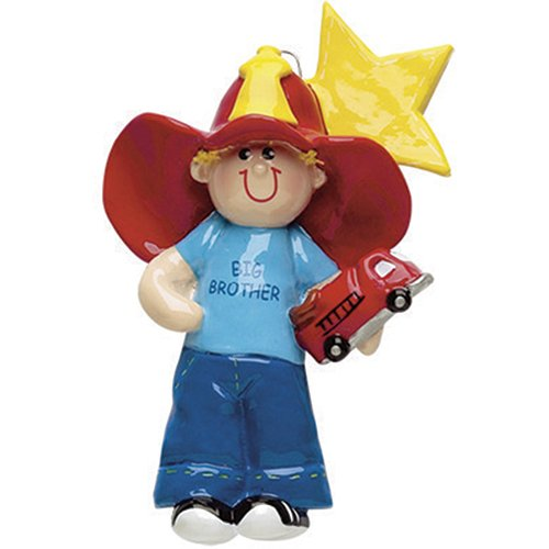 Big Brother Ornament Personalized (Personalized Big Brother Christmas Ornament for Tree 2018 - Lovely Toddler with Fire Truck in Blue Red Hat with Star - First New Small Little Family Care Memory Best Sibling 1st - Free Customization)