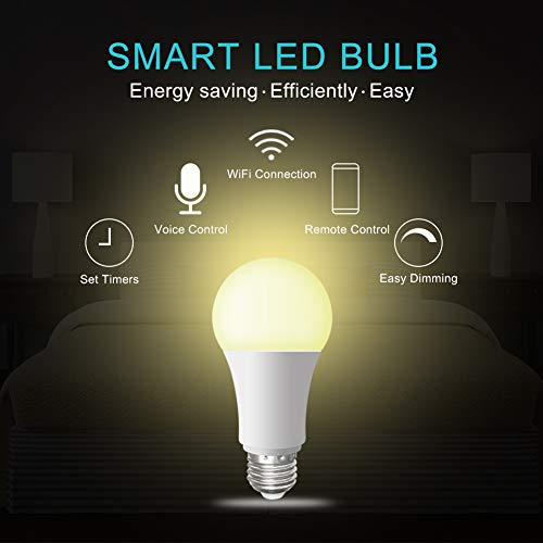 ACEMAX WiFi Smart Light Bulb Tunable Soft White to Daylight (2700K-6500K)  100W Equivalent Dimmable Sunrise E27 Smart Light Bulb No Hub Required