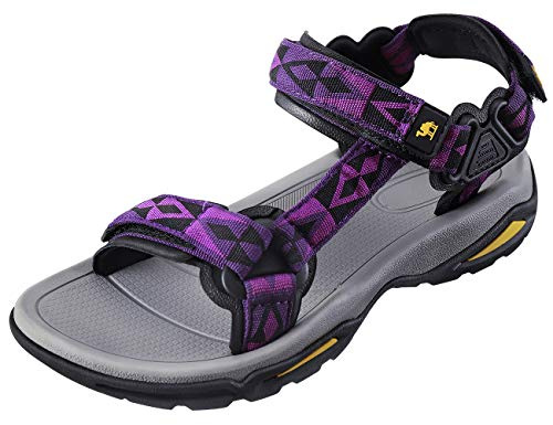 (CAMEL CROWN Comfortable Outdoor Water Hiking Sandals for Women with Arch Support Open-Toe Waterproof Women Sport Beach Sandals Purple)