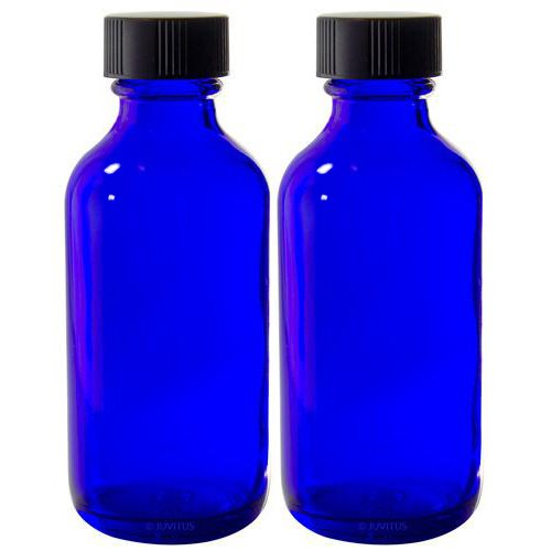 2 oz Cobalt Blue Glass Boston Round Bottle with Black Phenolic Cone Lined Caps (2 Pack)