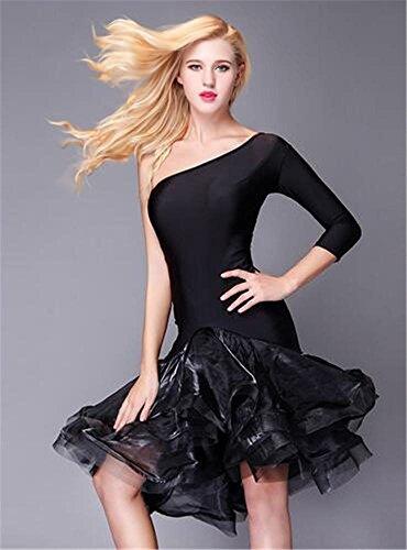 De robe Epaule Peiwen costume Black Féminine Spectacle Danse Latine Danse compétition spectacle Inclinée wtItSWqA