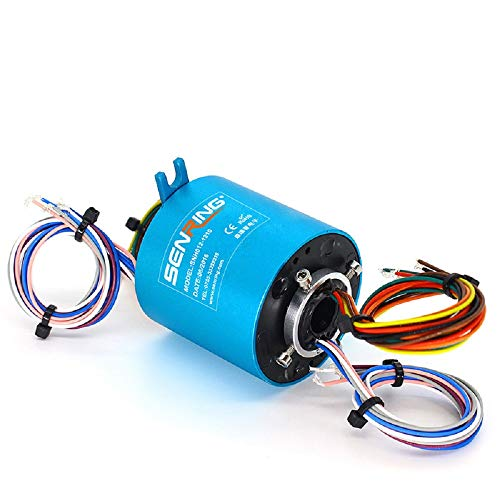 SENRING Factory Outlets 12MM Diam Through Hole Slip Ring 12 Wires 10A 440VAC VDC 250RPM Rotary Connector for Servo Motor.