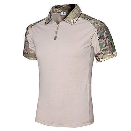 Men's Summer Quick Dry Breathable Tactical T-Shirts Outdoor Sport Anti-UV Hiking Climbing Cycling Short Sleeves CP Camouflage - Cp Ink Uv