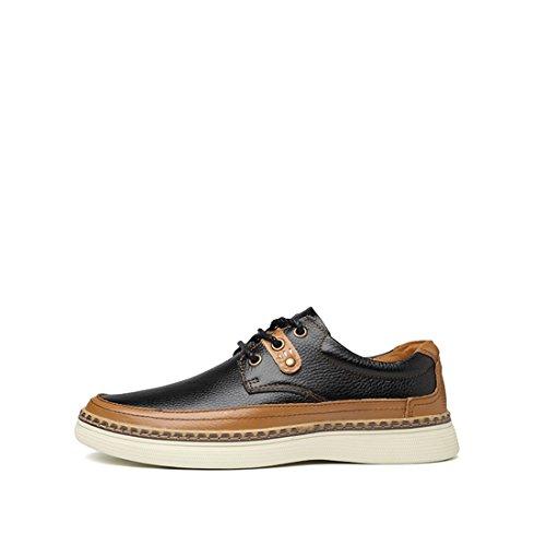 Minishion Mens Spets-up Syntetisk Låg-top Mode Sneaker Oxford Skor Svarta
