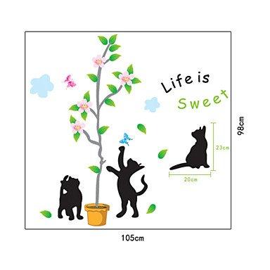 miaoge Comic de gatos negros de árbol de PVC pared adhesivo
