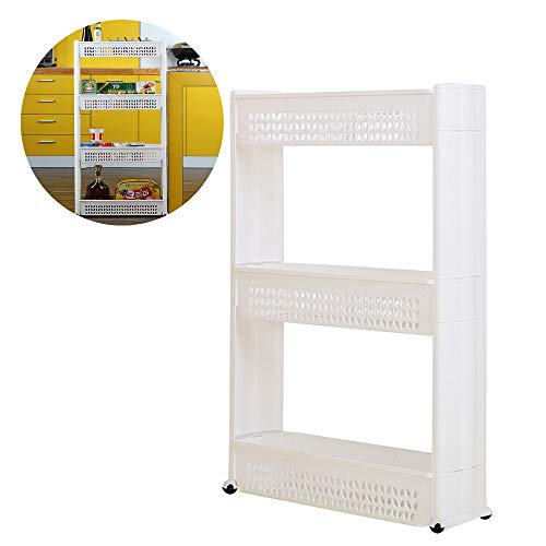 Mobile Shelving Unit Organizer,Gap Storage Slim Slide Out Pantry Storage Rack,Laundry Room Organizer with 3 Large Storage Baskets for Narrow Spaces