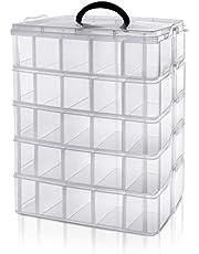 Belle Vous 5 Laags Hoge Helder Transparante Plastic Stapelbare Opslag Doos - Aanpasbare Compartiment slots - Maximaal 50 Compartimenten - Container Voor het Opslaan van Speelgoed, Sieraden, Kralen