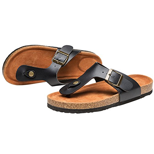 Royou Flip Black T Buckle Flat Strap Women Open for Sandals Beach Summer Flop Yiuoer Thong Toe Gladiator 6qra6