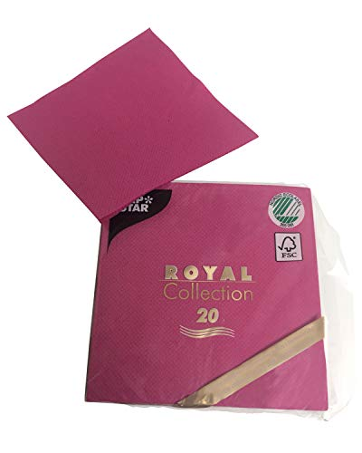 Linen-feel, Cloth-like Paper Disposable Napkins | 20 Pack | Royal Collection | 1/4-Fold | Cocktail Size | 21 Color options (Hot Pink / Fuchsia)