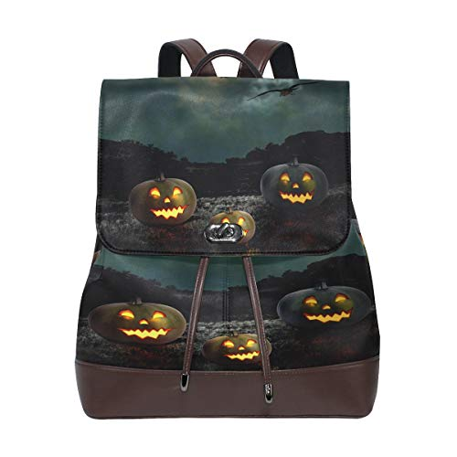 Horror Halloween Pumpkin Women's Genuine Leather Backpack Bookbag School Purse Shoulder Bag -