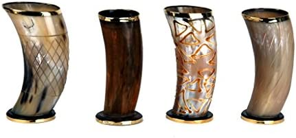 """New Tatto Viking Steins Drinking Horn 5 to 6/"""" mug cup ale beer wine Whisky"""