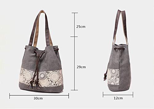 Bolsa Talla Hombro negro de Impresión Retro WEIZHE Unisex Casual Bolso única Moda Adulto Lienzo Portátil Beige qOwgzT