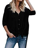 LuckyMore Womens Waffle Knit Tunic Blouse Tie Knot Henley Tops Batwing Plain Shirts