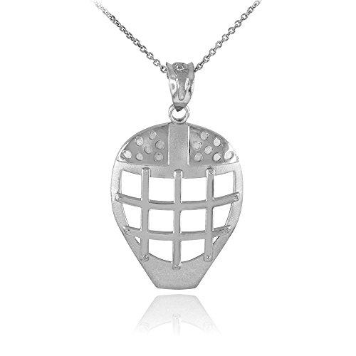 925 Sterling Silver Hockey Goalie Mask Sports Pendant Necklace, 18