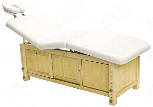 Skin Act Supreme Edition Wooden Frame Massage Table with Adjustable Hight (White)