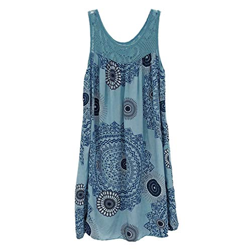 ★QueenBB★ Women's Summer Sleeveless Bohemian Print Tunic Swing Loose Pockets Knee Length T-Shirt Dress Light Blue