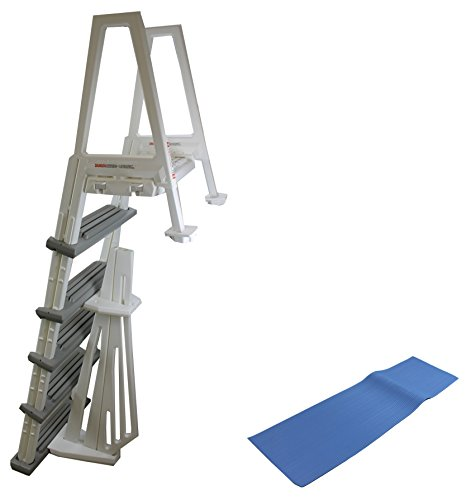 "CONFER 6000B Heavy Duty Aboveground In-Pool Swimming Pool Ladder 48""-54"" w/ Mat"