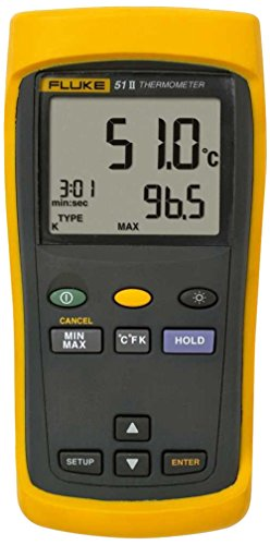 Fluke 51-2 Single Input Digital Thermometer, 3 AA Battery, -418 to 2501 Degree F Range, 60 Hz Noise Rejection with a NIST-Traceable Calibration Certificate with Data