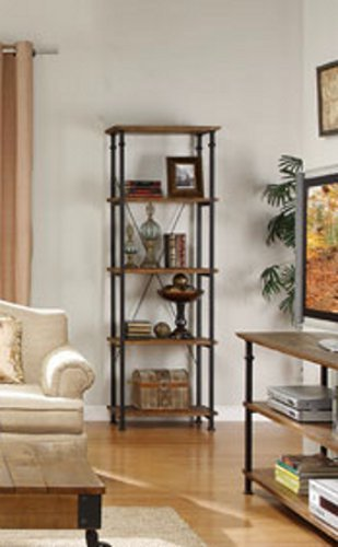 (Home Elegance Factory Bookcase by in Rustic Brown)