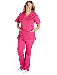 M&M Scrubs Women Mock Wrap/Flare Pant Set Medical Scrub Set