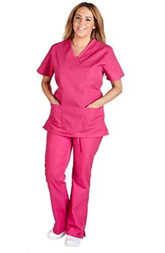 (M&M Scrubs Women Mock Wrap/Flare Pant Set Medical Scrub Set M Hot Pink)