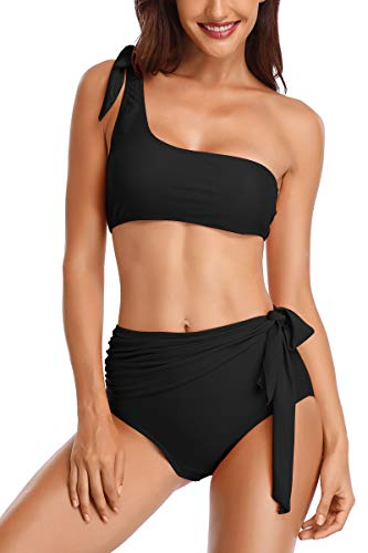Almaree Womens One Shoulder Tie Front Bikini Sets High Waist Bathing Suits Black M ()