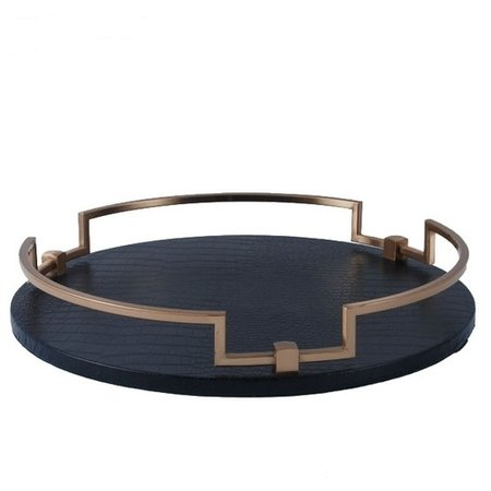 G Home Collection Luxury Black Leather Round Decorative Tray 14.6